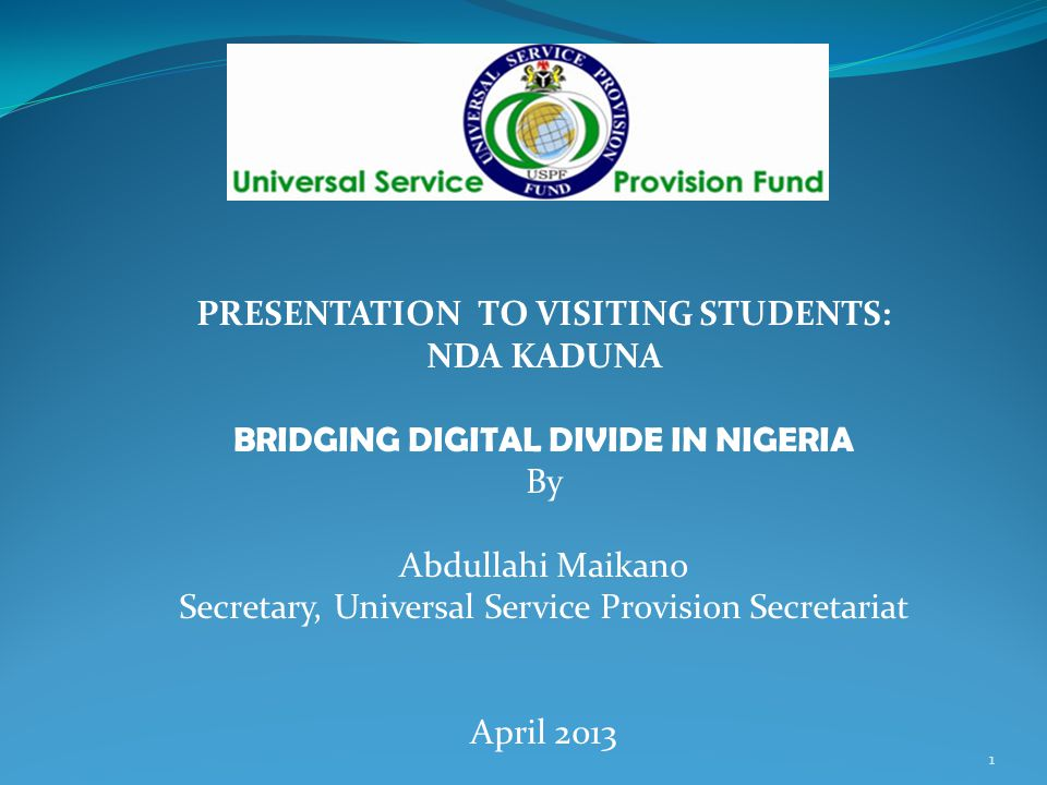 PRESENTATION TO VISITING STUDENTS: BRIDGING DIGITAL DIVIDE IN NIGERIA
