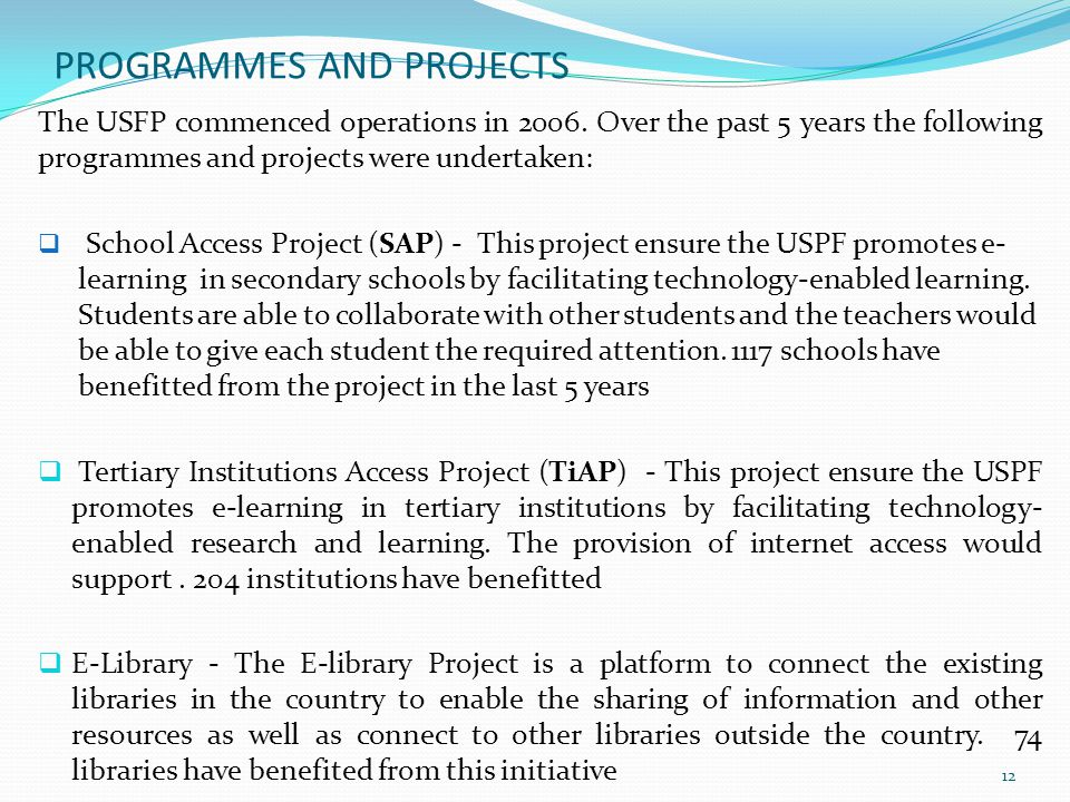 PROGRAMMES AND PROJECTS
