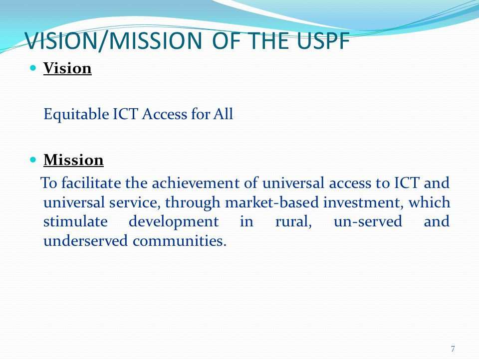 VISION/MISSION OF THE USPF