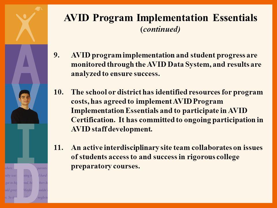 AVID Program Implementation Essentials