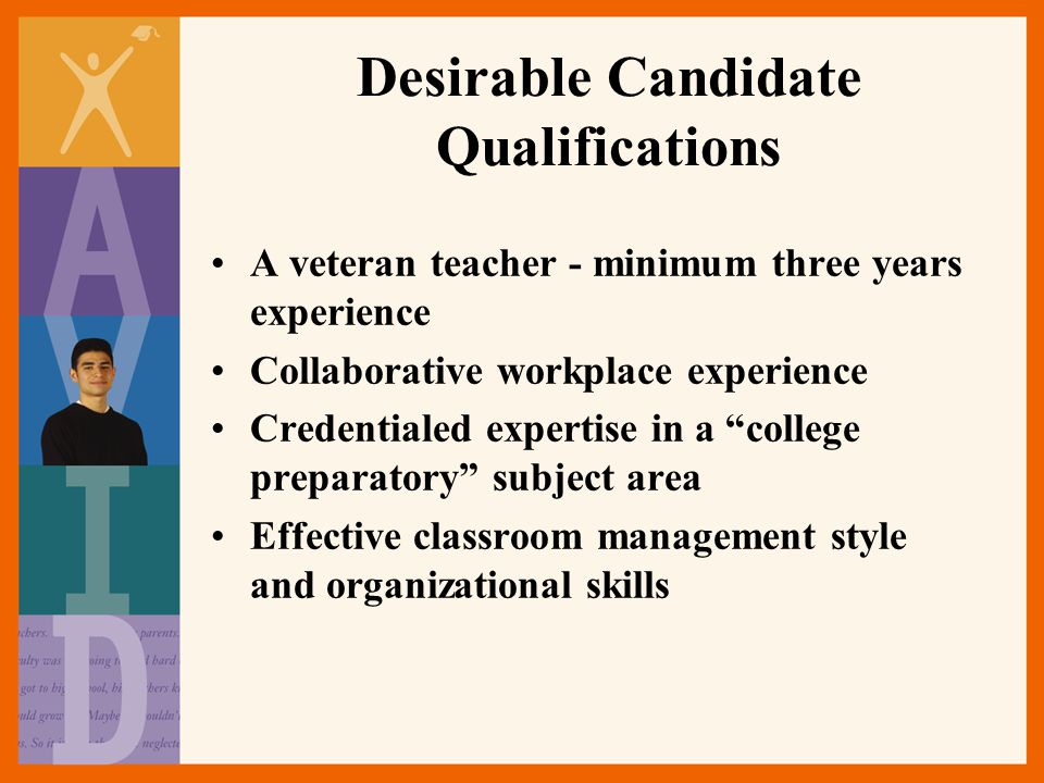 Desirable Candidate Qualifications