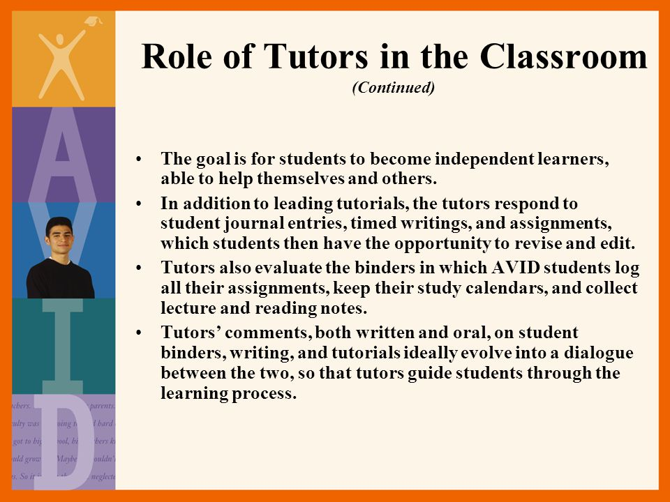 Role of Tutors in the Classroom (Continued)