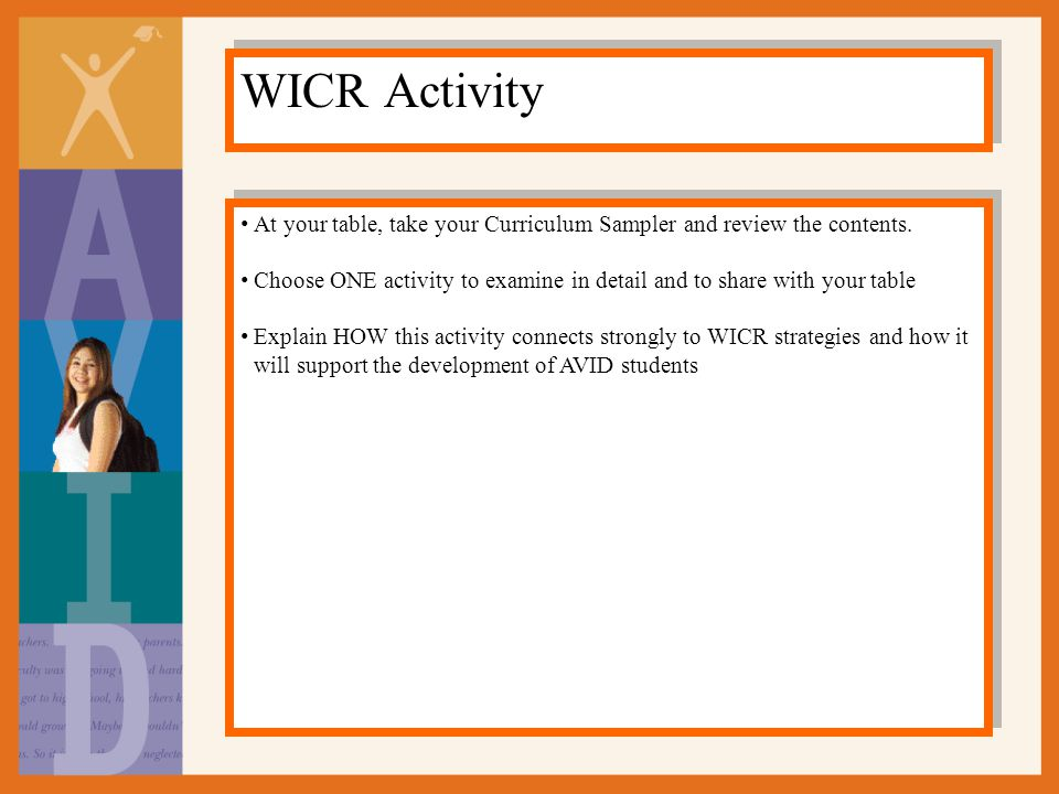 WICR Activity At your table, take your Curriculum Sampler and review the contents.
