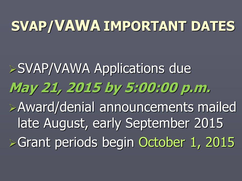 SVAP/VAWA IMPORTANT DATES