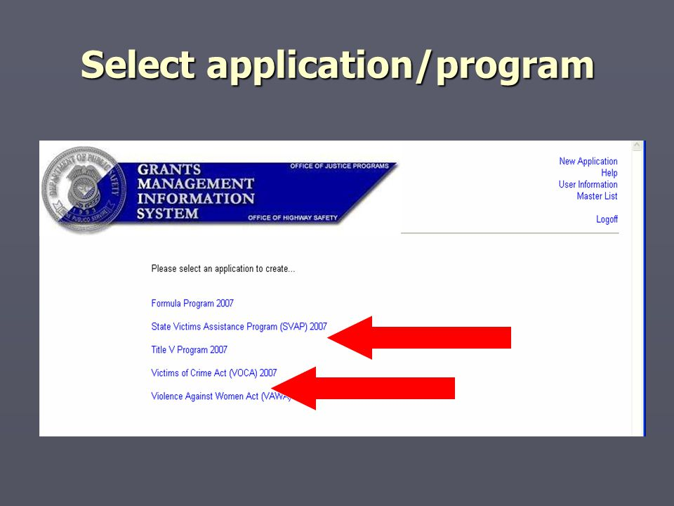 Select application/program