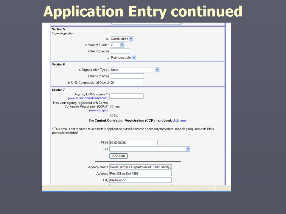 Application Entry continued