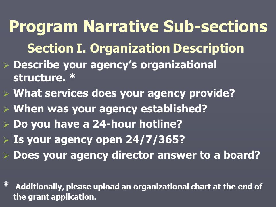 Program Narrative Sub-sections