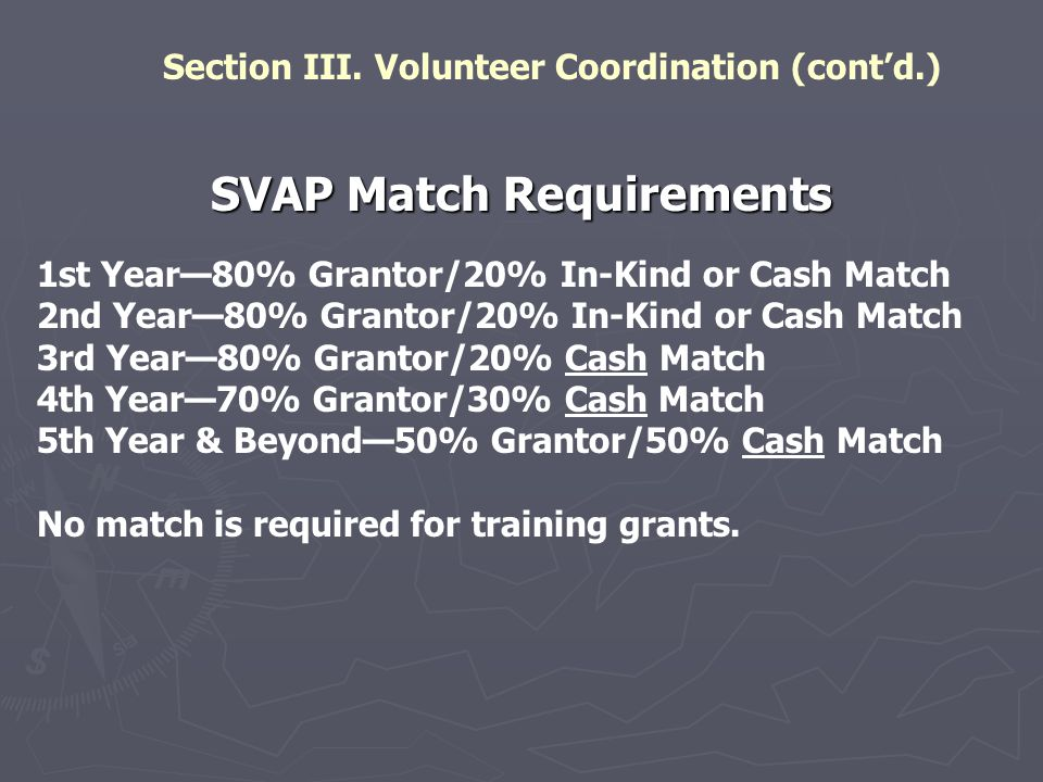 Section III. Volunteer Coordination (cont'd.)