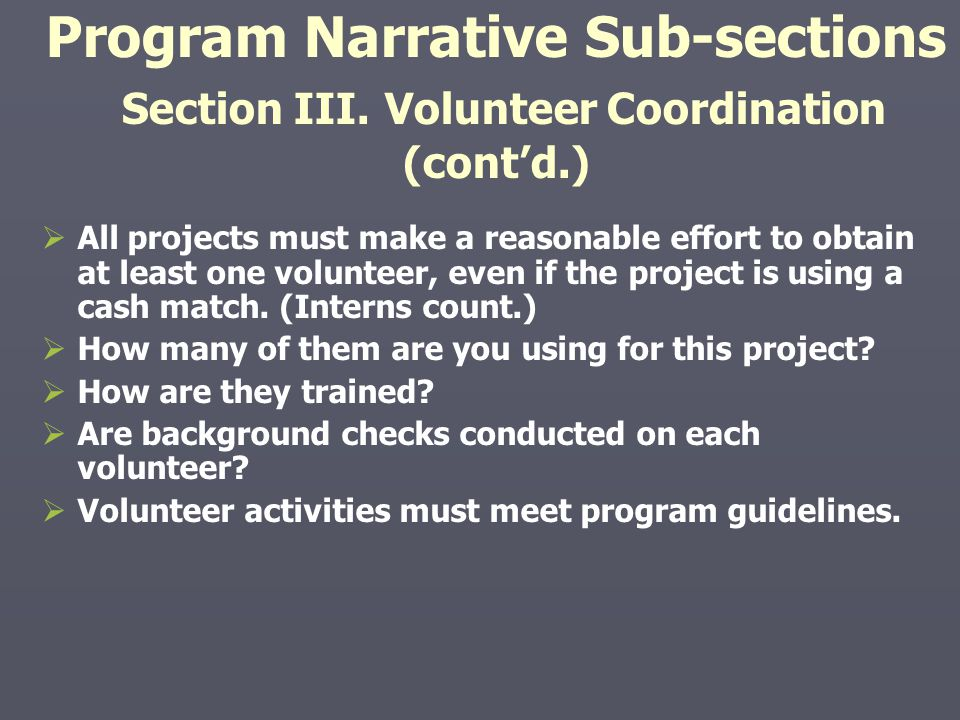 Program Narrative Sub-sections Section III