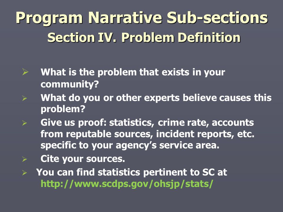 Program Narrative Sub-sections Section IV. Problem Definition