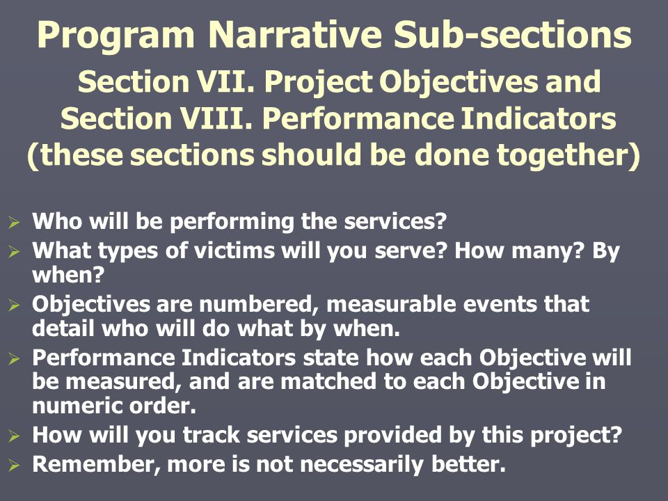 Program Narrative Sub-sections Section VII