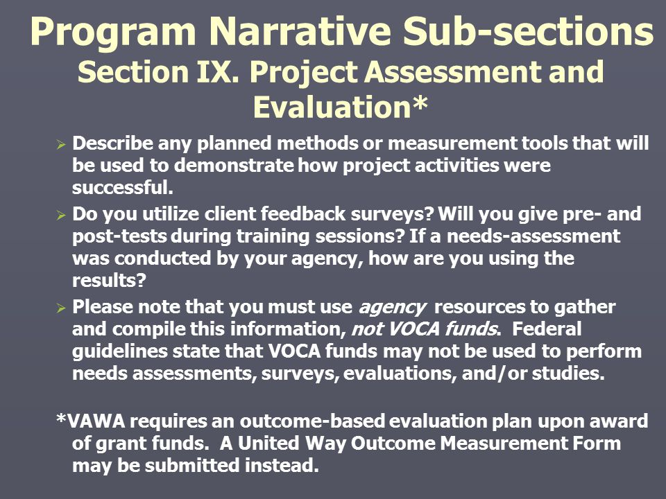 Program Narrative Sub-sections Section IX