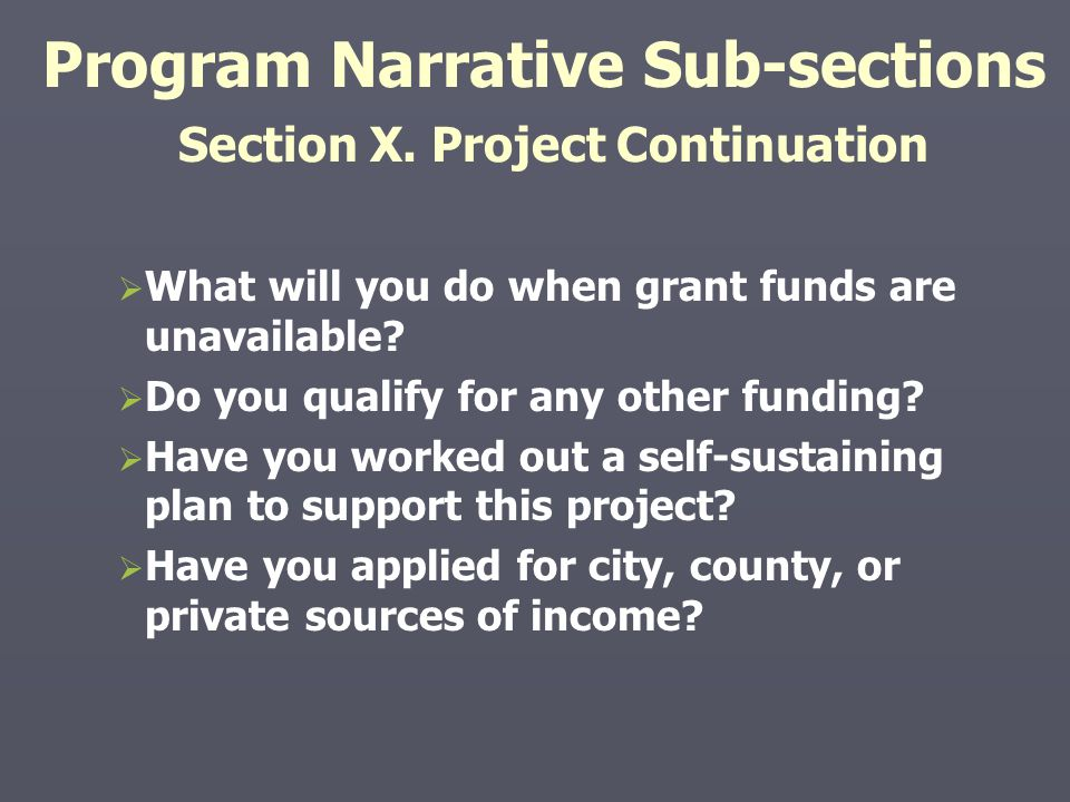 Program Narrative Sub-sections Section X. Project Continuation