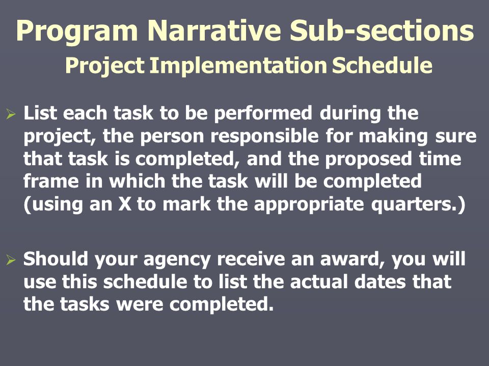 Program Narrative Sub-sections Project Implementation Schedule