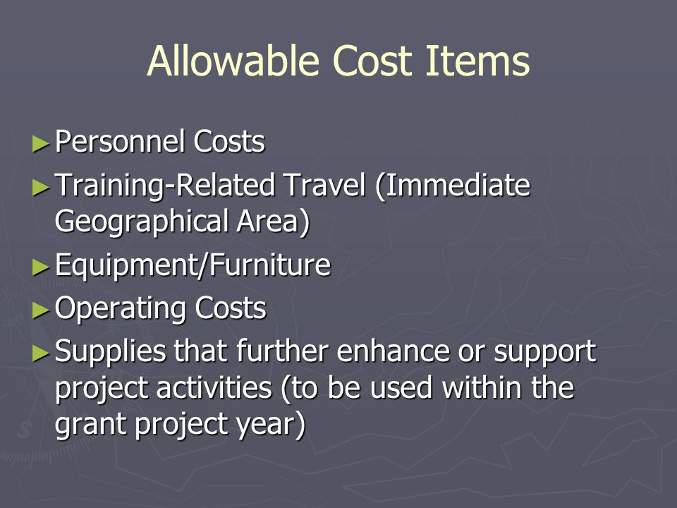 Allowable Cost Items Personnel Costs