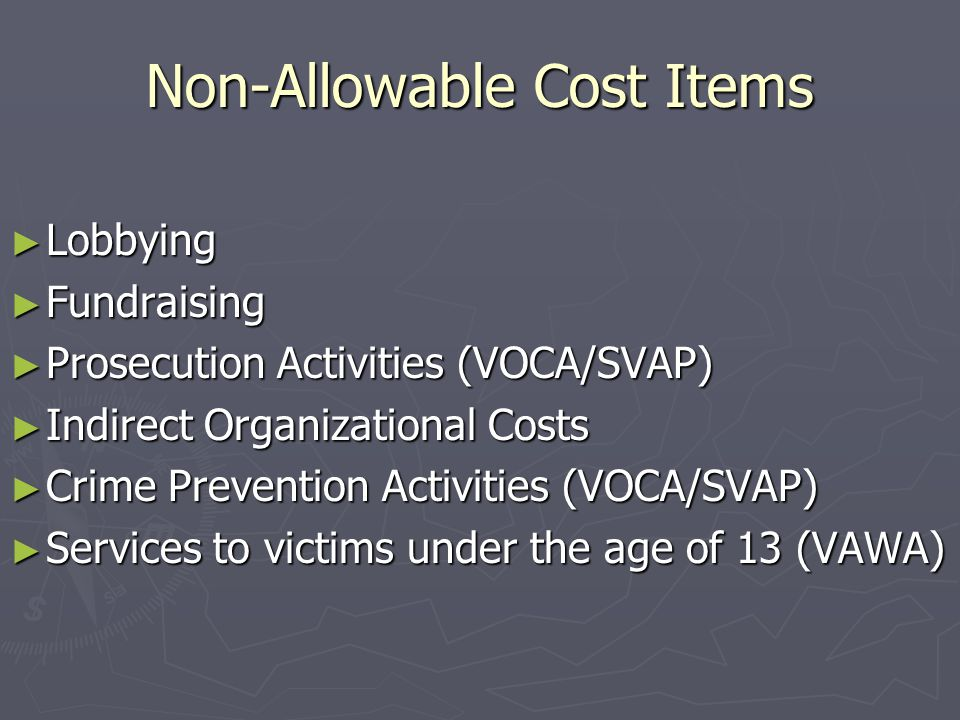 Non-Allowable Cost Items