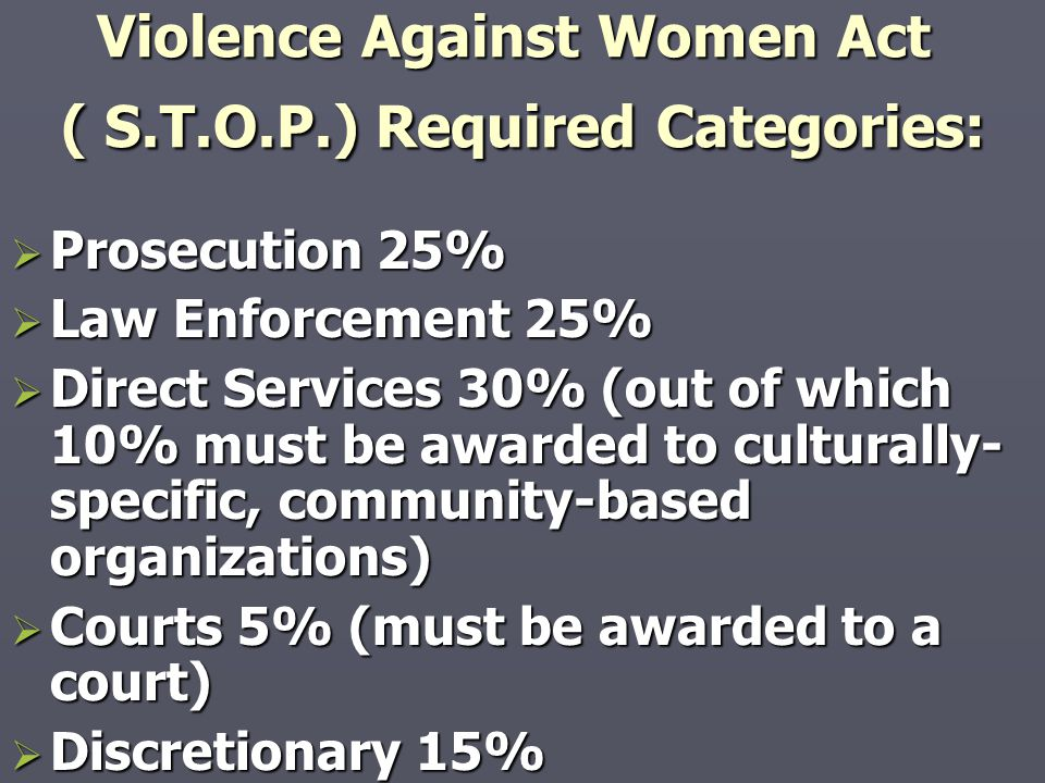 Violence Against Women Act ( S.T.O.P.) Required Categories: