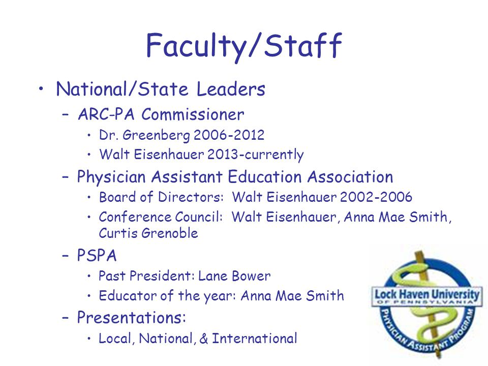 Faculty/Staff National/State Leaders ARC-PA Commissioner