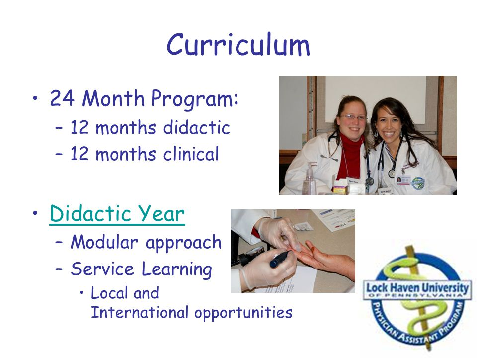 Curriculum 24 Month Program: Didactic Year 12 months didactic