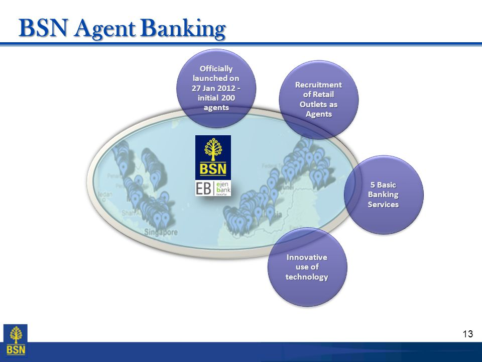BSN Agent Banking Officially launched on 27 Jan 2012 - initial 200 agents. Recruitment of Retail Outlets as Agents.