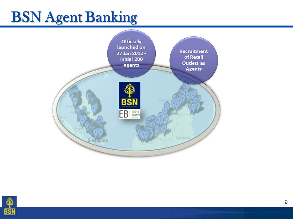 BSN Agent Banking Officially launched on 27 Jan 2012 - initial 200 agents.