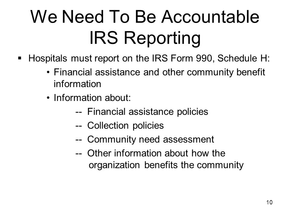 We Need To Be Accountable IRS Reporting