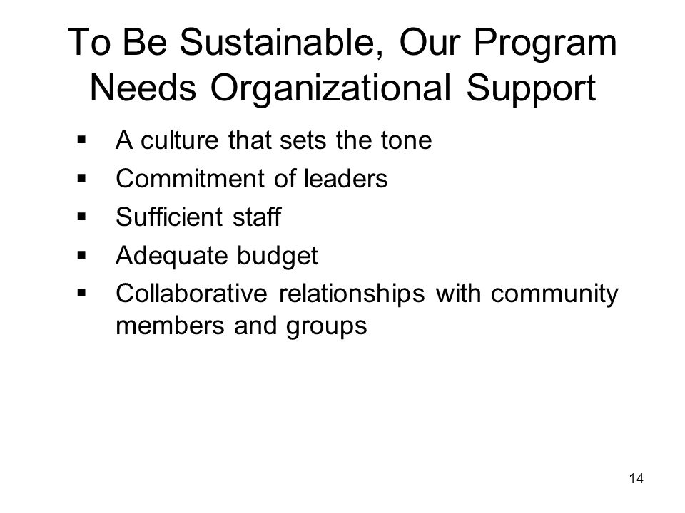 To Be Sustainable, Our Program Needs Organizational Support