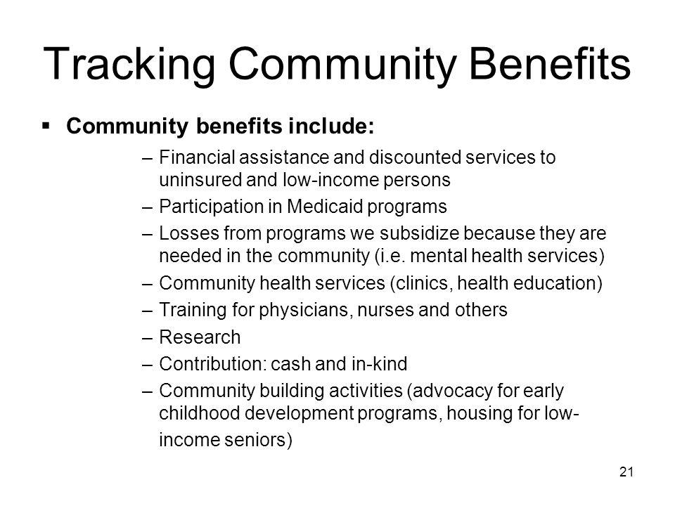 Tracking Community Benefits