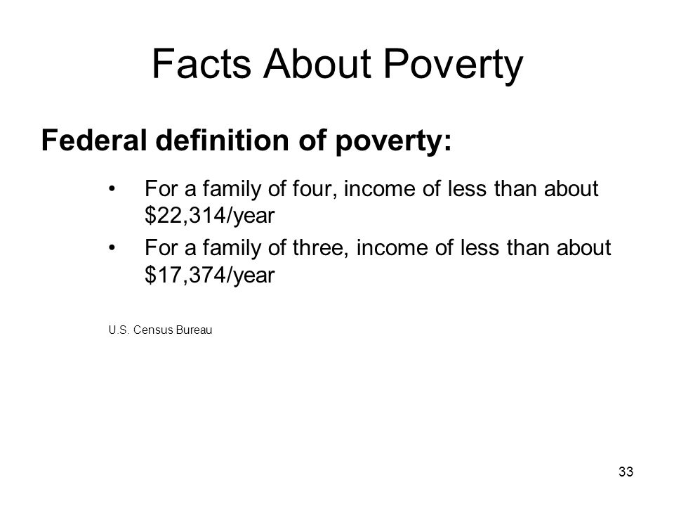 Facts About Poverty Federal definition of poverty: