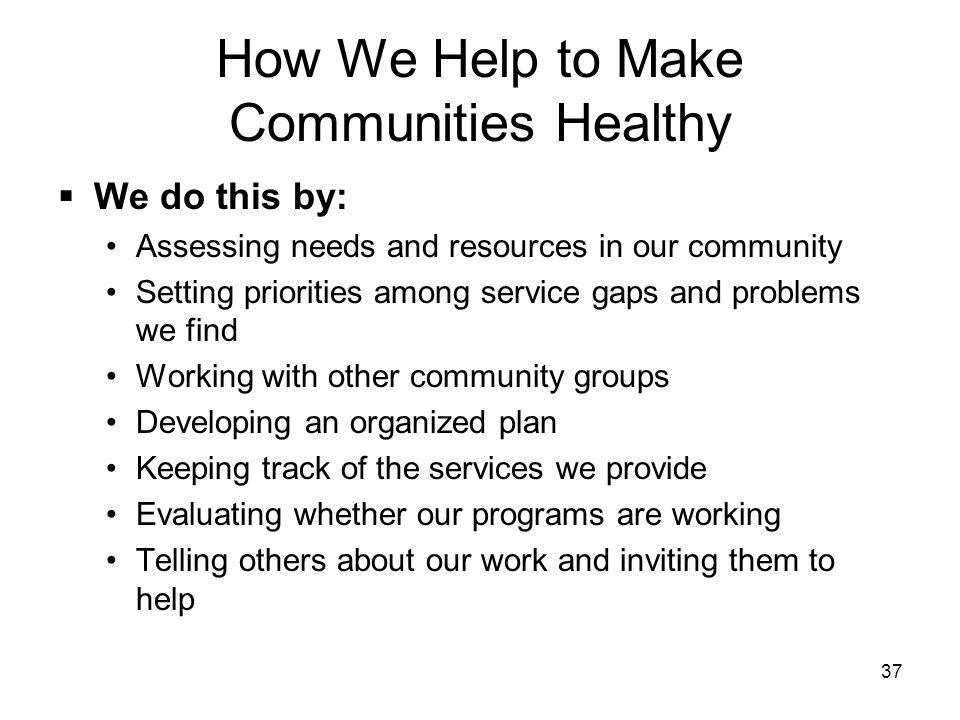 How We Help to Make Communities Healthy