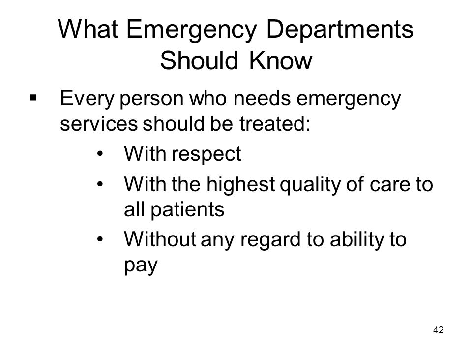What Emergency Departments Should Know