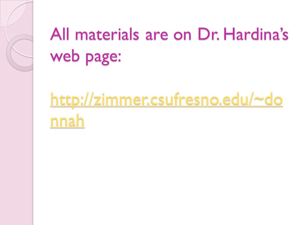 All materials are on Dr. Hardina's web page: http://zimmer. csufresno