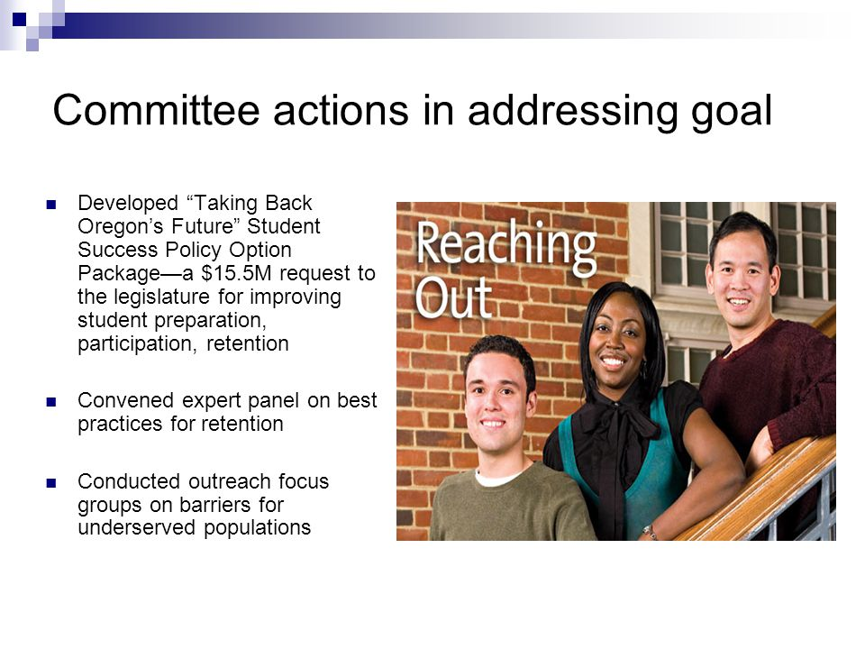 Committee actions in addressing goal