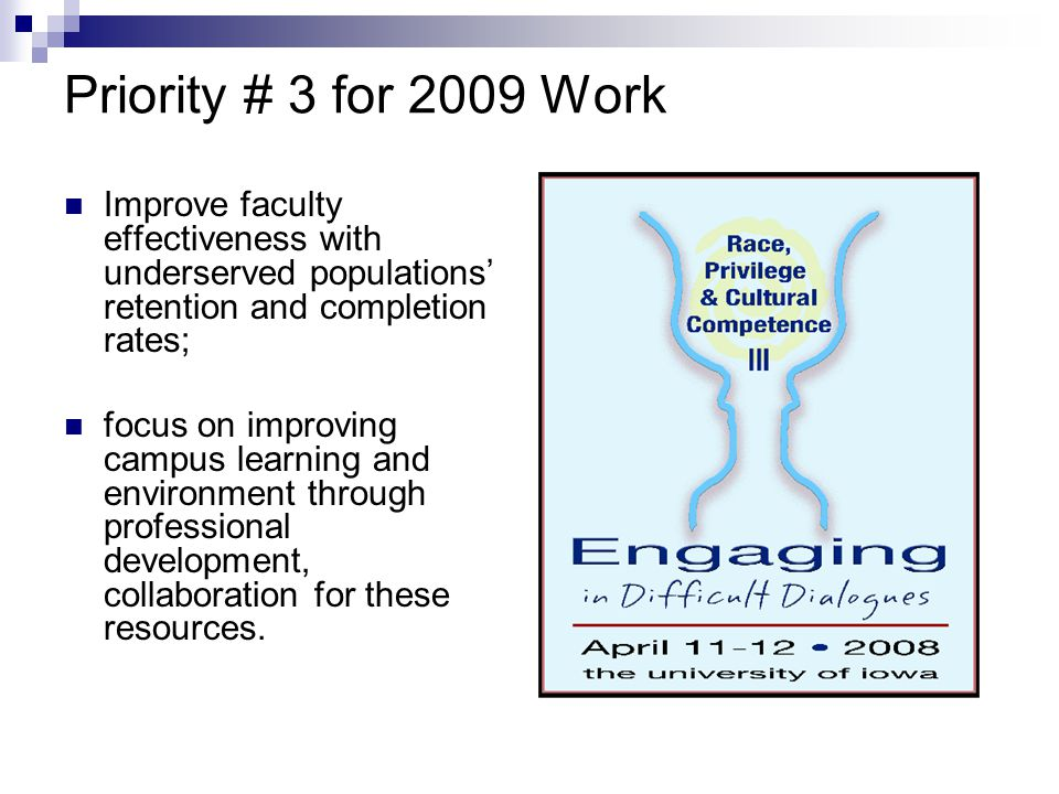Priority # 3 for 2009 Work Improve faculty effectiveness with underserved populations' retention and completion rates;
