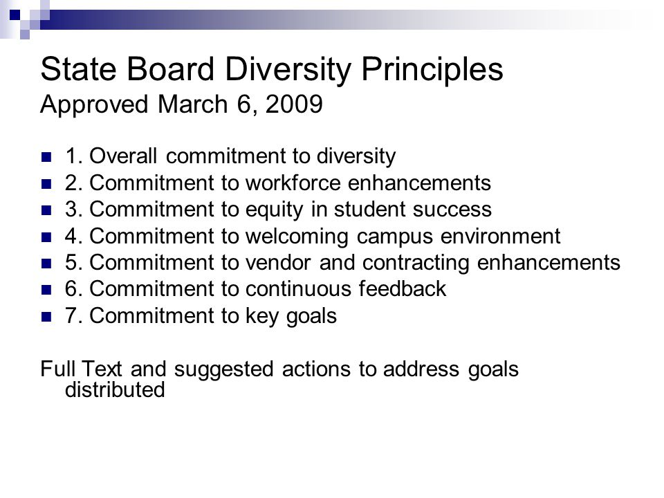 State Board Diversity Principles Approved March 6, 2009