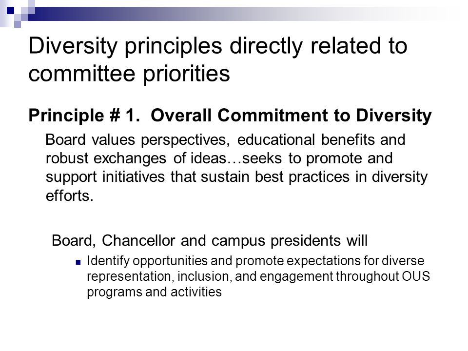 Diversity principles directly related to committee priorities