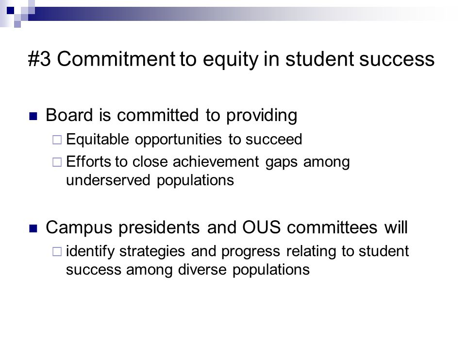 #3 Commitment to equity in student success