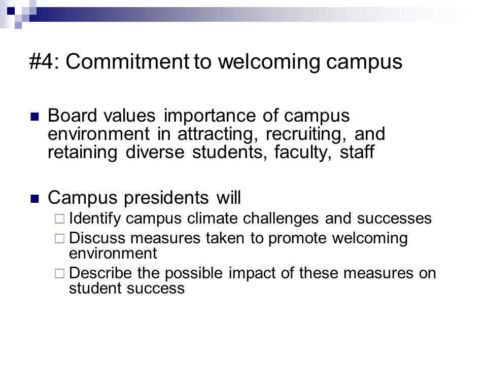 #4: Commitment to welcoming campus