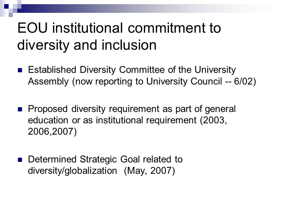 EOU institutional commitment to diversity and inclusion