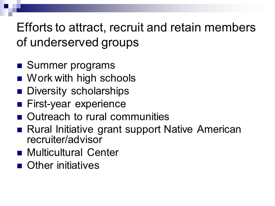 Efforts to attract, recruit and retain members of underserved groups