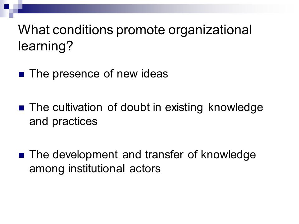 What conditions promote organizational learning