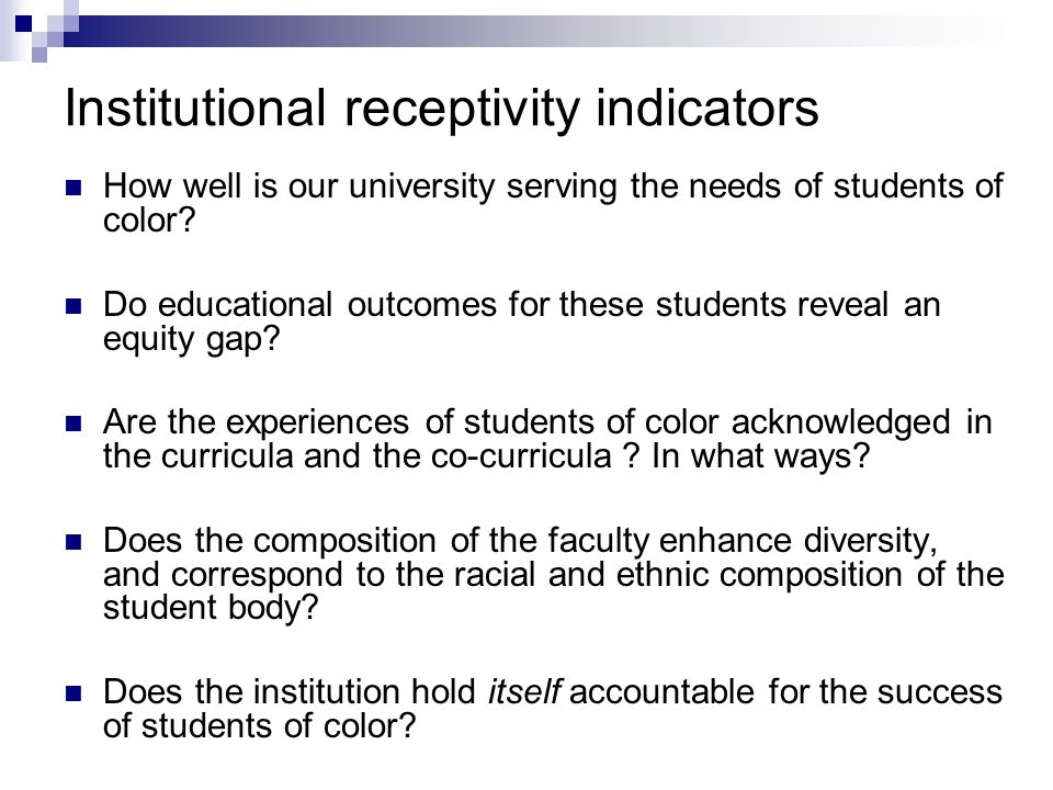 Institutional receptivity indicators