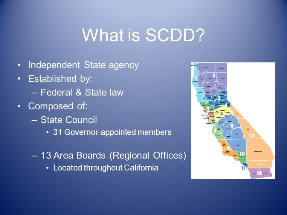 What is SCDD Independent State agency Established by:
