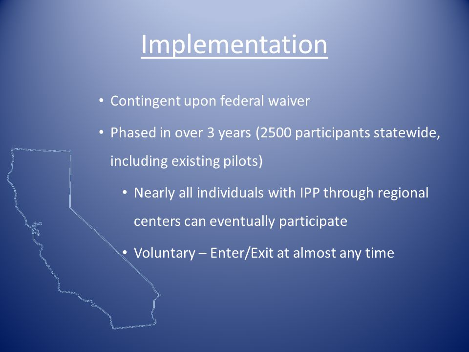 Implementation Contingent upon federal waiver