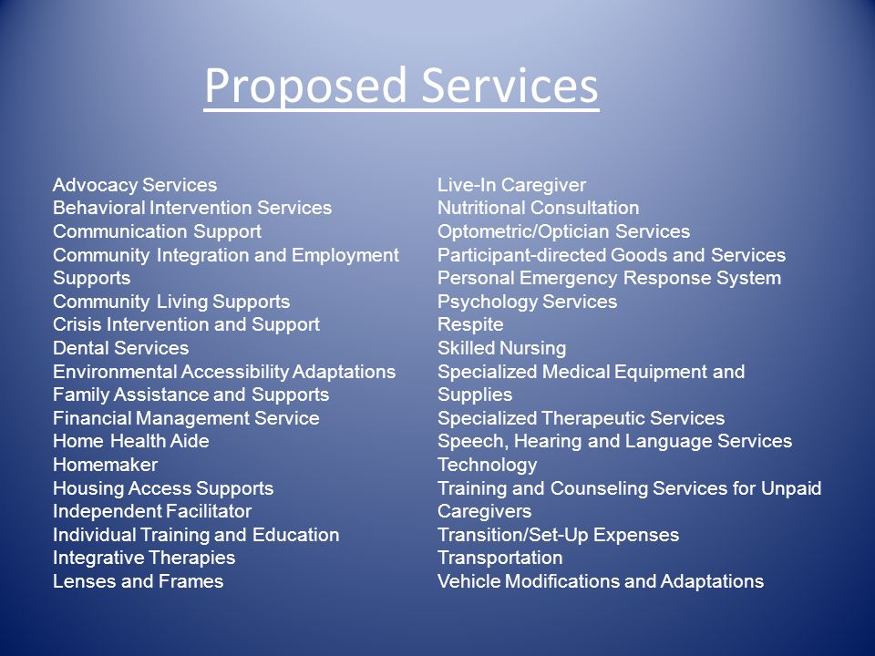 Proposed Services Advocacy Services Live-In Caregiver