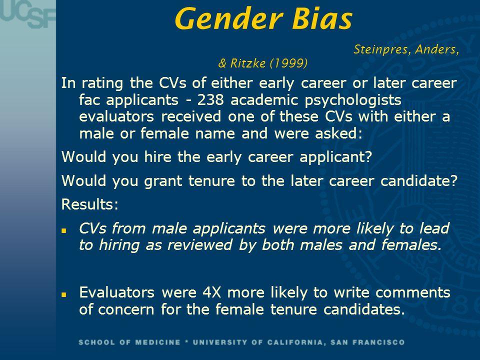 Gender Bias Steinpres, Anders, & Ritzke (1999)