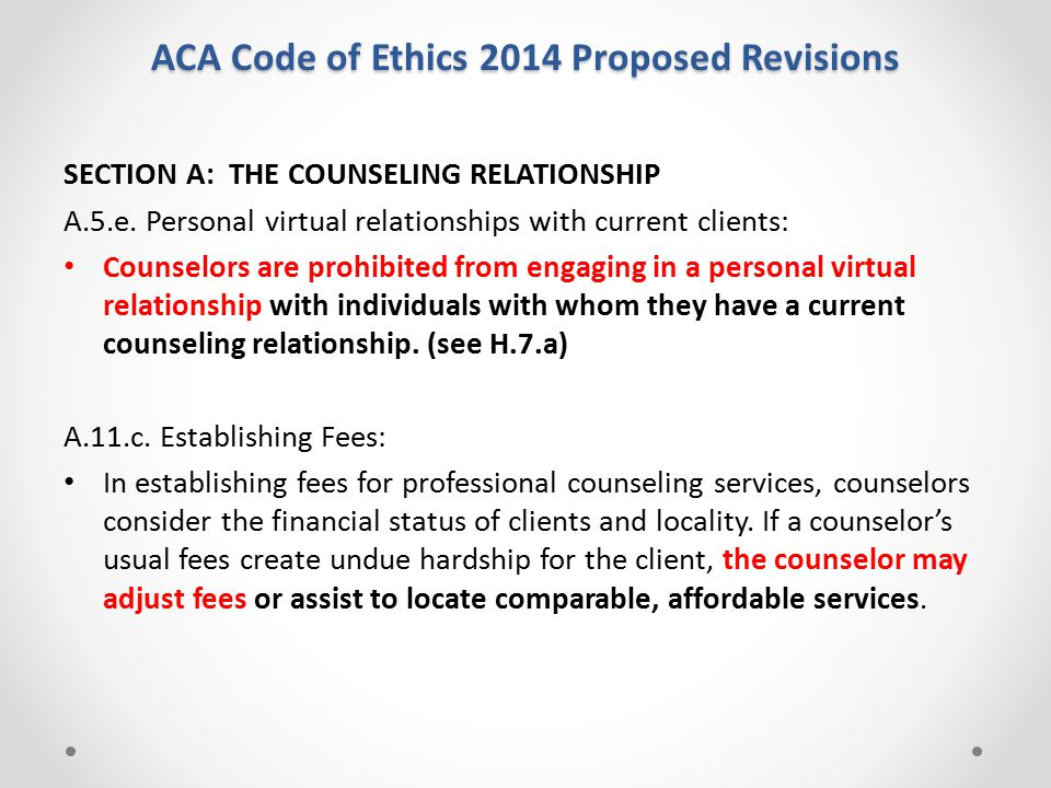 aca codes of ethics and amhca Comparing codes of ethics the similarities between the aca and the amhca code of ethics, they both providing training, guidance, and direction in making ethic decisions for their members (aca, 2005) (amhca, 2010.