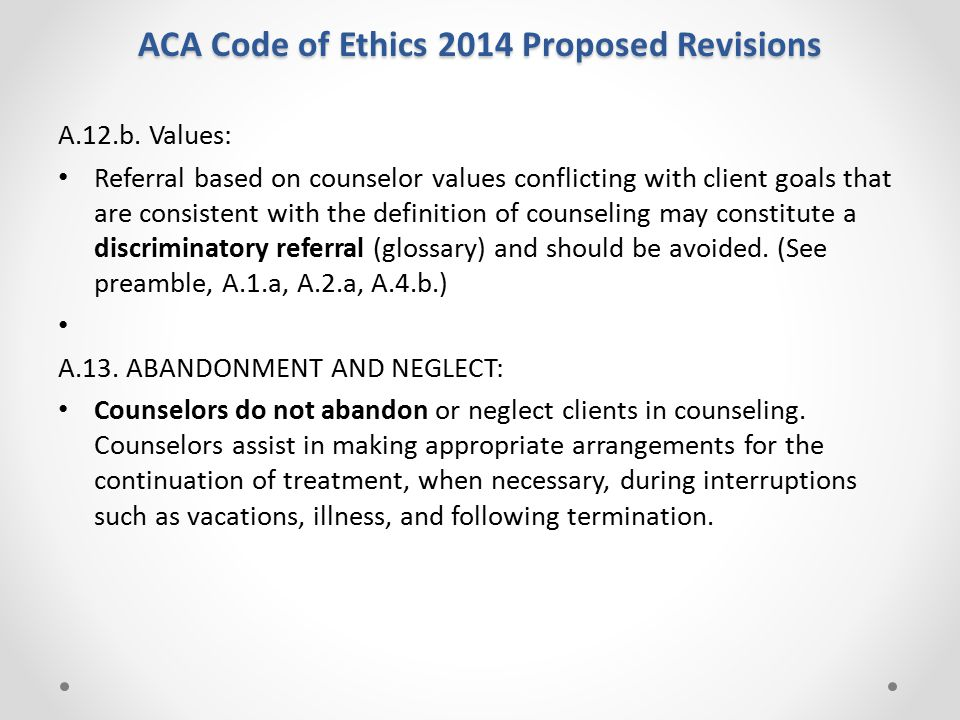 ACA Code of Ethics 2014 Proposed Revisions