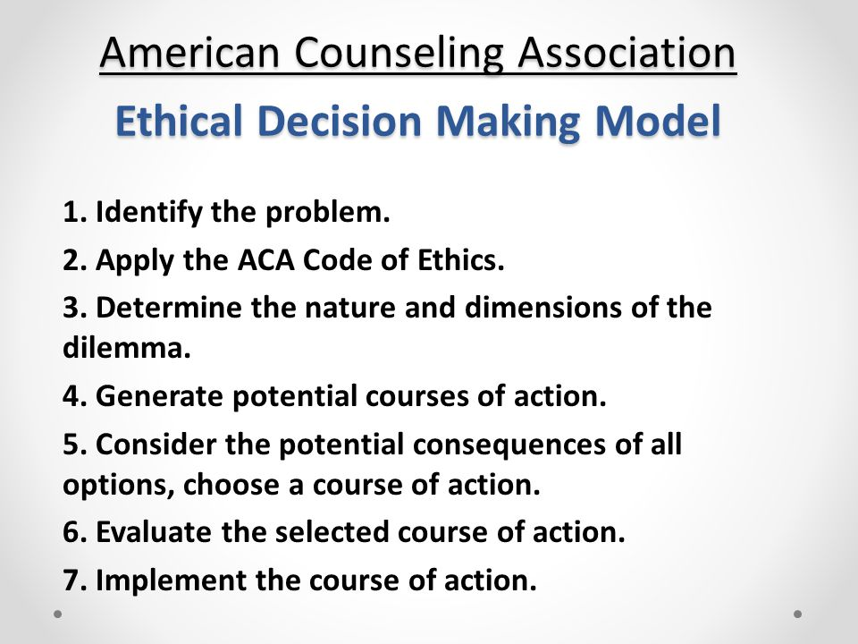 an ethical dilemma in the counselling Gossip and the guidance counselor: an ethical dilemma carol hart watson professional counselors are increas- thinking about divorce they have.