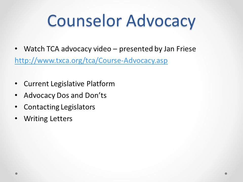 Counselor Advocacy Watch TCA advocacy video – presented by Jan Friese